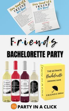 Friends TV Show Themed Bachelorette Party ideas . Plan the perfect bachelorette party for the bride who loves Friends! A gift your bride will love making the party the one with the bachelorette she will never forget! Instant Download and print at home for an easy quick, fun and simple gift for the bride who loves Friends. Friends Theme | Friends Themed | Friends TV Show Bachelorette Party | Bachelorette Party Decor|Friends Party Decorations #friendsthemed #friendstvshow #giftideas… Bachelorette Drinking Games, Bachelorette Party Decorations, Hawiian Party, Hot Wheels Party, Divorce Party, Bridal Shower Party, Friends Tv Show, Photo Booth Props, Food Labels