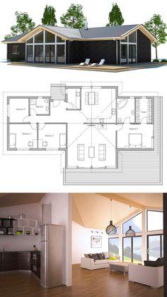 Small House Plans, Home Plans, Floor Plans, Architecture Dream House Plans, New House Plans, Modern House Plans, Small House Plans, House Floor Plans, Layouts Casa, House Layouts, Casas Containers, House Blueprints