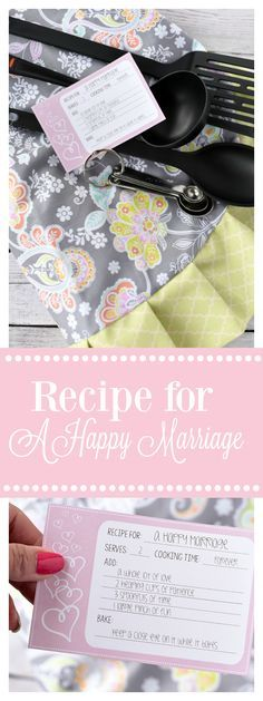 bridal shower gift idea recipe for a happy marriage