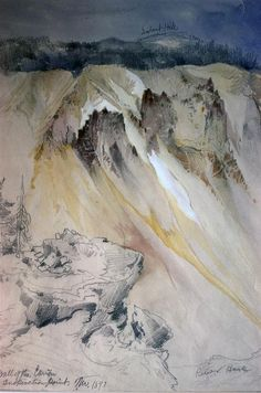 Cinnabar Mountain, Yellowstone River (watercolour) - Thomas Moran - WikiArt.org