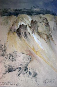 Cinnabar Mountain, Yellowstone River (watercolour) - Thomas Moran - WikiArt.org