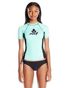 7ffc8930ed2 Amazon.com  Reef Women s Solids Short Sleeve Rash Guard