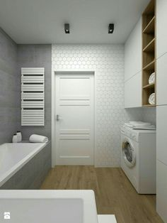 Ideas for bath room tiles grey white Narrow Bathroom, Bathroom Doors, Wood Bathroom, Downstairs Bathroom, Grey Bathrooms, White Bathroom, Bathroom Storage, Bathroom Ideas, Bathroom Interior Design