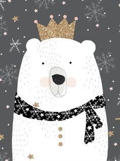 Polar bear king illustration is wonderful by dottywrenstudio Illustration Mignonne, Christmas Illustration, Children's Book Illustration, Polar Bear Illustration, Winter Illustration, Winter Art, Christmas Art, Polar Bear Christmas, Christmas Ideas