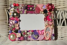 Handmade recycled jewelry mosaic frame, pink and purple frame, girl frame,