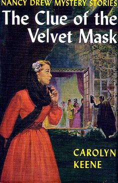 ND#30. 1953 cover art. A masquerade party turns into a mystery for Nancy when a cloaked man is seen climbing into the second story window of the mansion and things end up stolen. Once again on the trail of thieves, Nancy must undercover the gang who are stealing jewels and art at parties given by wealthy people. When Nancy and George switch identities, George soon discovers that while it is exciting to play amateur detective, it can be dangerous to masquerade as Nancy Drew!