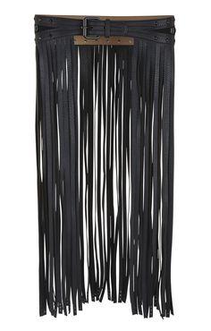 Long Fringe-Skirt Waist Belt