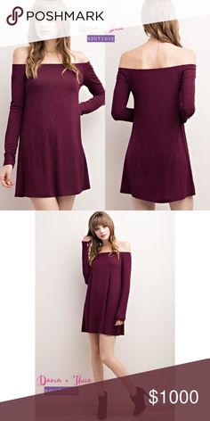 "Coming Soon🌟Bamboo Fabric Off Shoulder Dress🌟 🌟BRAND NEW🌟  Bamboo fabric off shoulder dress.  Color: Wine Fabric: 96% Bamboo Viscose, 4% Spandex  Made in USA 🇺🇸  Will update description for the measurement once the items arrive.  💟Submit your offer thru the ""Offer"" button 💟NO Price discussion in the comment 💟NO Lowballing 💟NO Trades Dresses Long Sleeve"