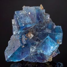Deep Blue Fluorite with Calcite Locality: Minerva Mine, Hardin County, Illinois. Minerals And Gemstones, Rocks And Minerals, Natural Crystals, Stones And Crystals, Gem Stones, Beautiful Rocks, Mineral Stone, Rocks And Gems, Healing Stones