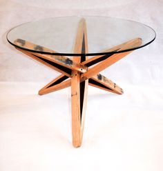 This beautifully elegant, yet modern coffee table is made using 6 solid oak reclaimed scotch whisky barrel staves, with a 8mm thick clear, toughened glass top. The simplicity of the design would make this table a real talking point and stunning addition to any home. Youll not find anything like it anywhere else. size: 800mm diameter 500 - 600mm in height (approx) As all items are handmade to order, theyre all unique. Whilst every effort will be made to emulate the product shown in the…