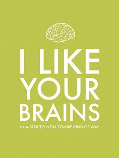 Zombie Art Print I Like Your Zombie Brains Funny by pennyluxesales on Etsy