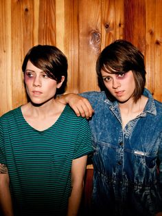 tegan and sara ( I guess we're supposed to believe that they hit each other? --)