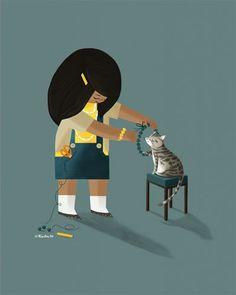childrens,illustration,digital  #cut #cat #illustration