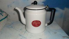 Vintage U.S Stamping Co. Moundsville WV Small White Enamelware Tea Pot