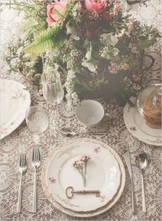 table setting vintage with key