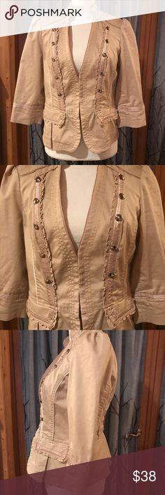 WHBM 8 beige colored moto jacket blazer White House Black Market size 8 beige colored blazer Moto jacket. Hook and eye closure, silver button accents on front and back, ruffles along bodice, 3/4 length sleeves White House Black Market Jackets & Coats