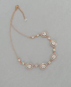 Rose Gold Bridal Necklace Crystal Wedding by CrystalAvenues