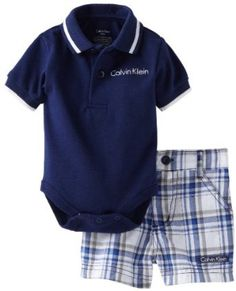 Calvin Klein Baby-boys Newborn Navy Polo Bodysuit with Plaided Shorts, Blue, 3-6 Months Calvin Klein. $42.50