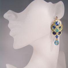 Soutache Ohrhänger Blau-Gruen von Perlotte Schmuck