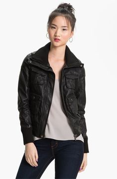 Collection B Faux Leather Bomber Jacket (Juniors) available at Nordstrom