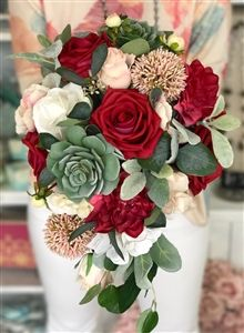Boho Woodland Rustic Succulent Burgundy and Blush Real Touch Silk Wedding Bouquet - Eucalyptus Lush Cascade Bouquet Your wedding flowers are actually an important part of your wedding day. But before you decide, there are details you'll. Maroon Wedding, Purple Wedding, Wedding Colors, Dream Wedding, Wedding Wall, Wedding Flower Guide, Fall Wedding Flowers, Wedding Ideas, Rustic Wedding