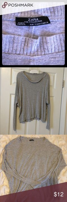 ‼️SALE‼️Zara gray top Gray Zara long sleeve top. Soft, Light weight almost sweater feel. Looser in center. Super comfortable every day top. Perfect with jeans and leggings. Zara Tops