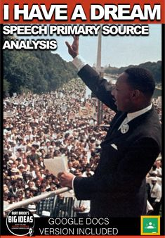 I Have a Dream Primary Source Analysis + Distance Learning Version(Civil Rights) American History Lessons, World History Lessons, Teaching History, Quotation Format, Source Documents, History Lesson Plans, Famous Speeches, Important Quotes, Primary Sources