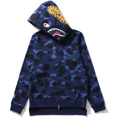 BAPE COLOR CAMO SHARK ZIP UP SWEATSHIRT (NAVY) (26,105 INR) ❤ liked on Polyvore featuring tops, hoodies, sweatshirts, camouflage sweatshirt, blue camo sweatshirt, camo top, camo print sweatshirt and navy sweatshirt