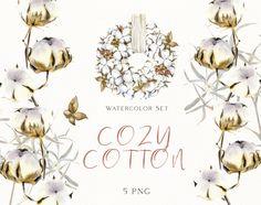 Watercolor Clipart, Wreath Watercolor, Floral Watercolor, Winter Clipart, Christmas Clipart, Boho Flowers, Cotton Wreath, Winter Essentials, Boho Diy