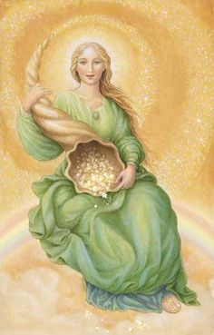 """Goddess Abundantia is the Roman Goddess of Abundance, Good Fortune and Success. Her name means """"plenty"""" or """"overflowing riches."""" She has also been called """"the beautiful maiden of success."""""""