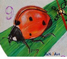 Hand Painted Wall Clock Ladybug Ladybird Wooden Clock Bishybarnabee Burnie Bee Handmade Clock Painting Nature Gift Kid Boy Girl, JaN:)Art :: JaN:) Art