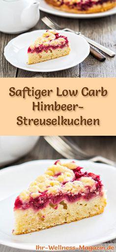 Rezept für Low Carb Himbeer-Streuselkuchen - kohlenhydratarm, kalorienreduziert, ohne Zucker und Getreidemeh