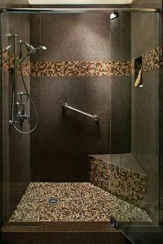 Auburn Pebble Tile Shelves and Pebble tiles