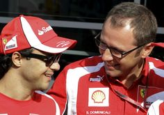 Felipe Massa e Stefano Domenicali, chefe da Ferrari (Foto: AP Photos)