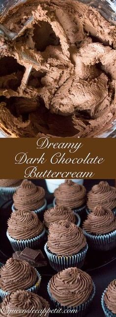 A light fluffy decadent and dreamy Dark Chocolate Buttercream Frosting Perfect for frosting cakes cupcakes and Cupcake Recipes, Baking Recipes, Cupcake Cakes, Dessert Recipes, Fondant Recipes, Fondant Tips, Gourmet Cupcakes, Cupcake Icing Recipe, Fondant Bow