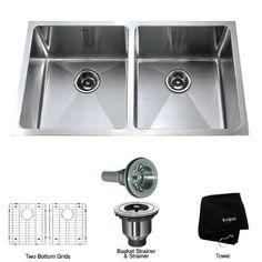 """[SAVE 60%] Kraus KHU102-33 33"""" Undermount 50/50 Double Bowl 16 Gauge Stainless Steel Kitchen Sink"""