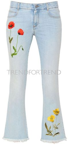 New Fashion Style Jeans Spring Summer Ideas Denim Fashion, New Fashion, Spring Fashion, Girl Fashion, Painted Jeans, Embellished Jeans, Poncho, Embroidered Clothes, Sexy Jeans