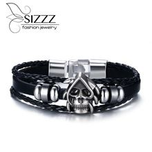 Get The Latest Fashion Jewelry  2017 Punk Rock Mens Black Durable Leather Bracelets Gothic Skull Cuff Bangle Stainless Steel Skeleton Pulseiras Masculinas     Buy Jewelry At Wholesale Prices!     FREE Shipping Worldwide     Get it here ---> http://jewelry-steals.com/products/2017-punk-rock-mens-black-durable-leather-bracelets-gothic-skull-cuff-bangle-stainless-steel-skeleton-pulseiras-masculinas/    #rings