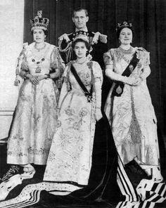 1953 Queen Mother Elizabeth, Queen Elizabeth, Prince Philip, and Princess Margaret