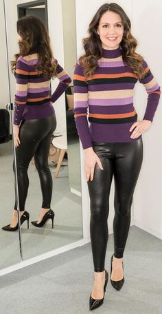 Leather High Heels, Sexy High Heels, Leather Pants, Sexy Older Women, Sexy Women, Leggings And Heels, Vinyl Clothing, Pretty Babe, Tv Presenters