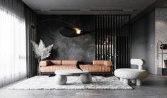Shaping Slick Dark Interiors With Black & Grey Decor Sofa Design, Furniture Design, Interior Design, Modern Furniture, Black Dining Set, Black Feature Wall, Dark Living Rooms, Dark Interiors, Living Room Designs