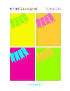 Free Printable | Neon Madness Journaling Cards | by Creativity Prompt