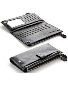 Женский кожаный кошелек визитница две молнии ST с ремешком вместительный