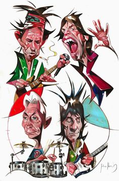 """The Rolling Stones"" por Julio Ibarra Funny Caricatures, Celebrity Caricatures, Celebrity Drawings, Rolling Stones Album Covers, Rolling Stones Logo, Rock Posters, Concert Posters, Heavy Metal, Caricature Drawing"