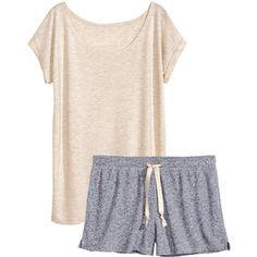 H&M Jersey pyjamas ($14) ❤ liked on Polyvore featuring intimates, sleepwear, pajamas, pijamas, pyjamas, nightwear, light grey, h&m, short sleeve pajamas and jersey knit pajamas