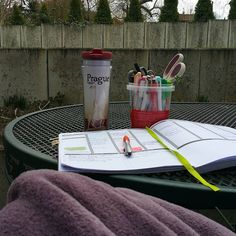 Love working outside as long as I have a cup of Java and a snuggly throw  #coffee #coffeecup #starbucks #starbucksprague #passionplanner #zebramildliner #dowhatyoulove