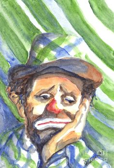 The World Loves A Clown Artist: Carol Wisniewski. --- Why are clowns always so sad? Clown Paintings, Paintings For Sale, Watercolor Paintings, Clown Photos, Laugh Now Cry Later, Cute Clown, Send In The Clowns, Circus Poster, Clown Faces