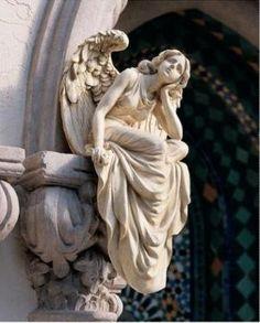 Peaceful Sitting Angel Sculpture Garden Statue Large