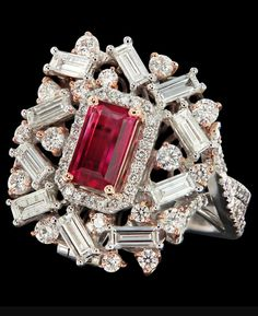 Caratell 1.10ct Bixbite/red beryl and 2.30ct Diamond cocktail ring from ' Sun Ring' collection