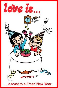 love is... a toast to new year, Love is... a happy New Year. Kim Casali comics not by kim